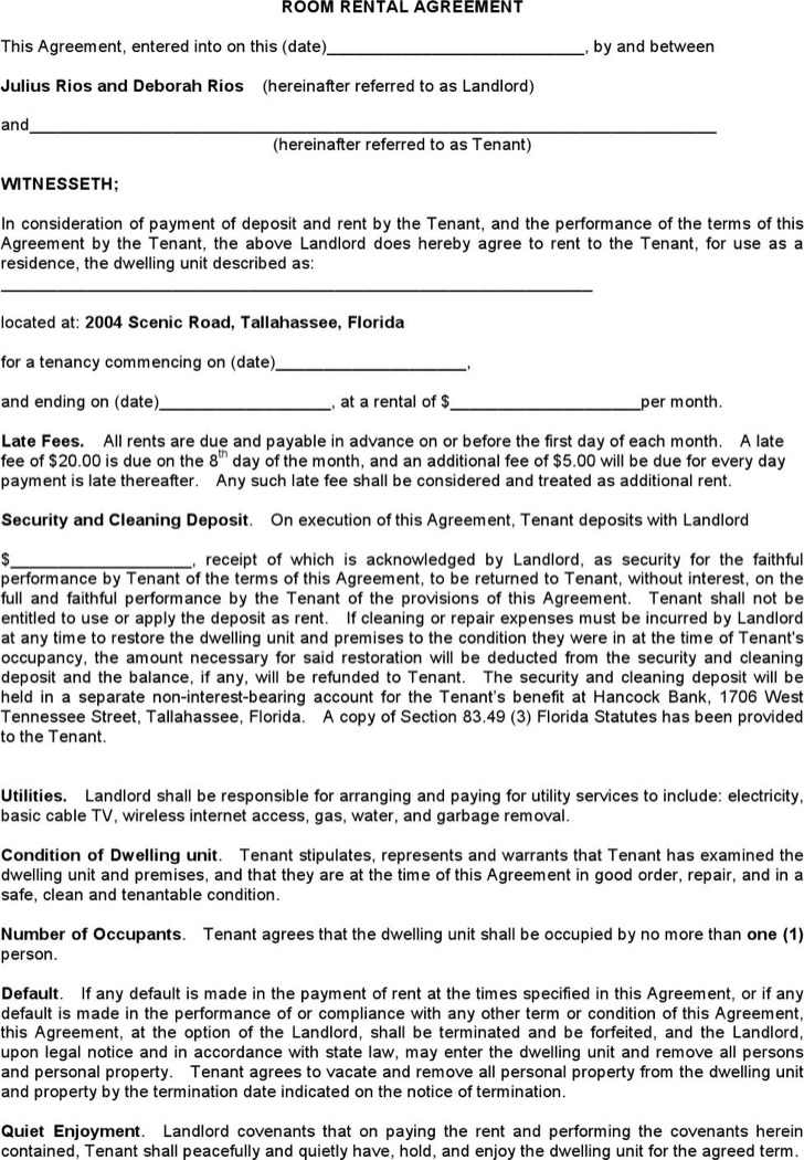 Room Lease Agreement Rental Contract Template  Contract