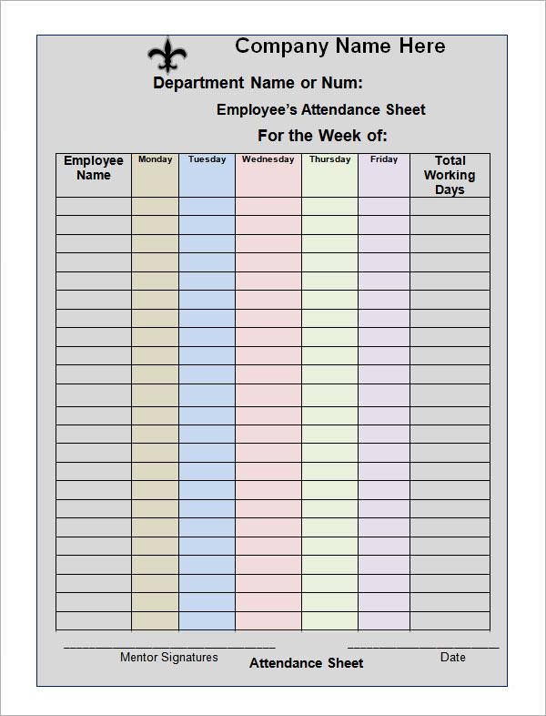 Monthly Attendance Sign Up Sheet