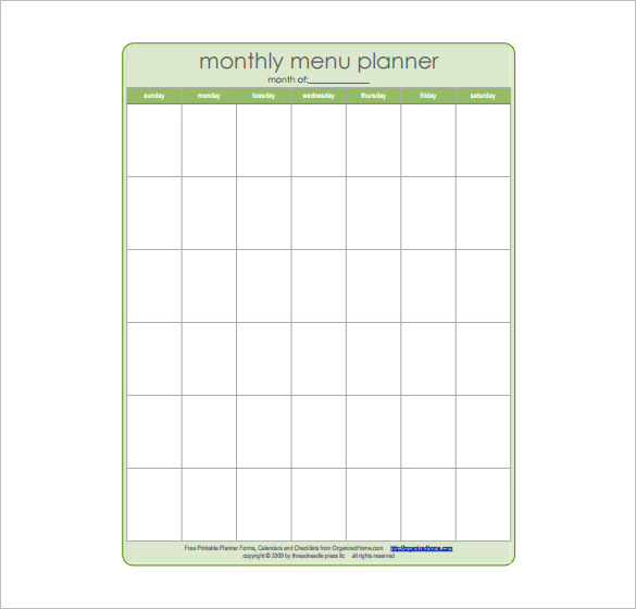 Monthly Dinner Menu Planner Schedule Template Download