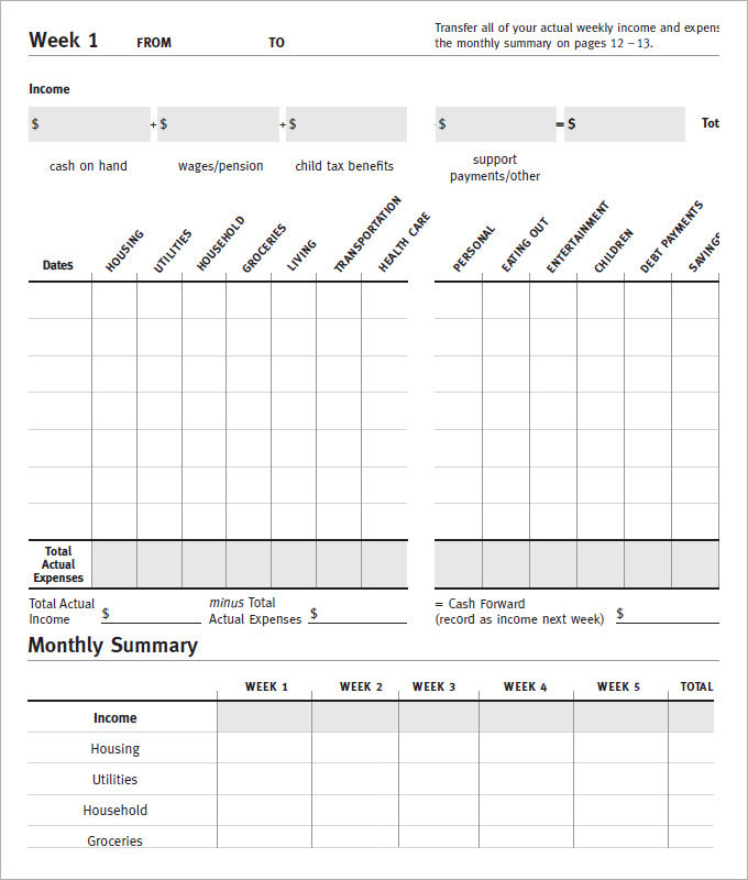 Monthly Expences Budget Tracker Template