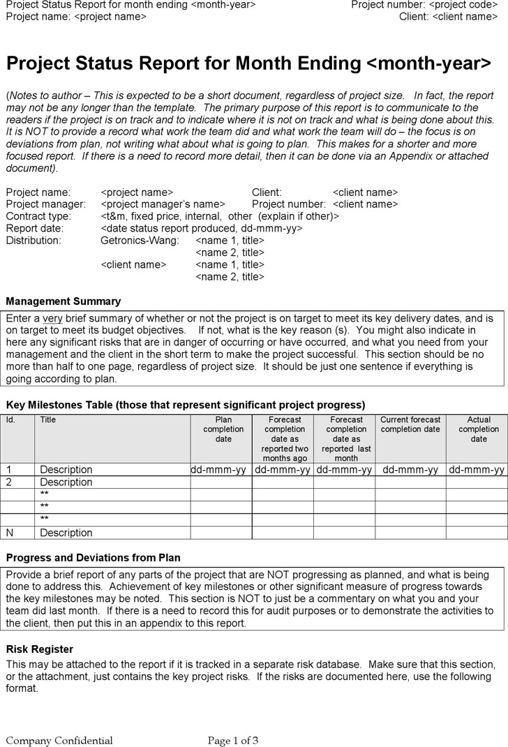Project Status Report Template – Status Report Template Word