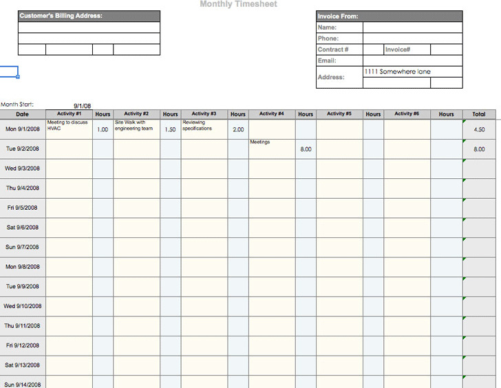 Monthly Timesheet Premium. Biweekly Timesheet Template Sample Time