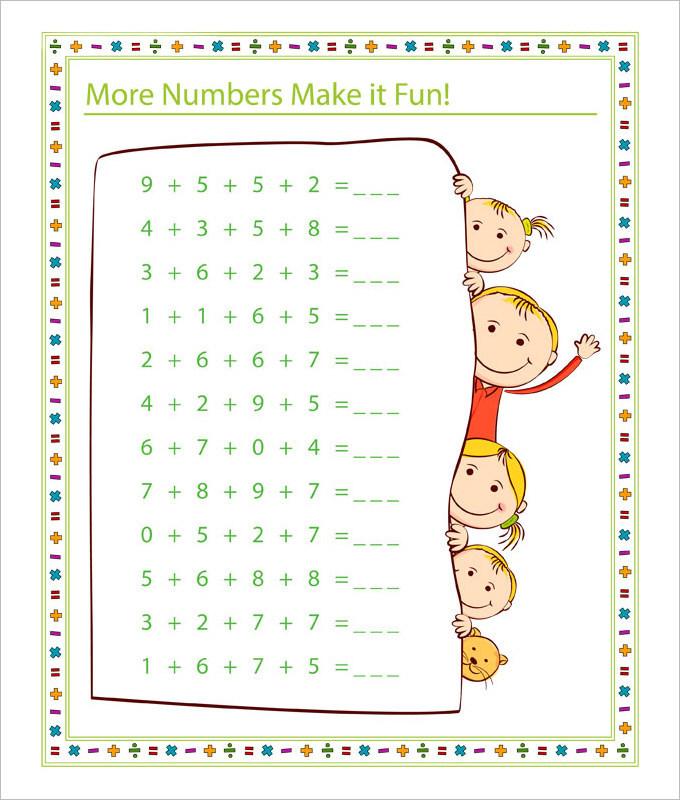 More Number Fun Math Worksheet Template