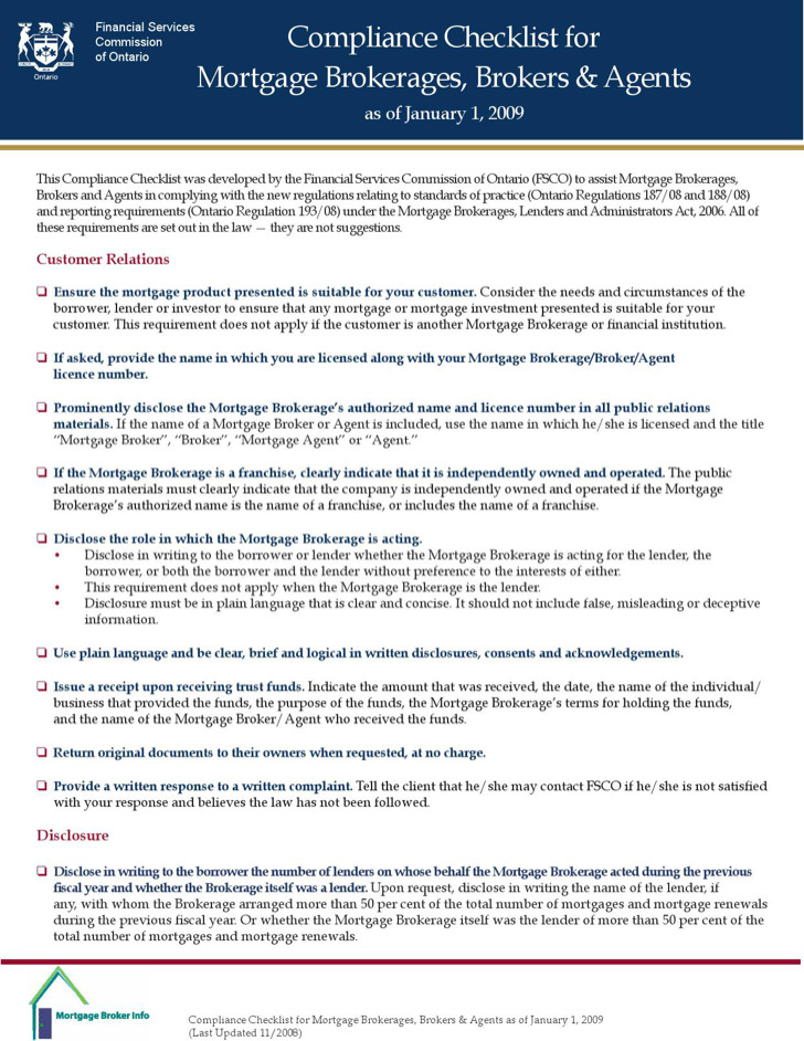 Mortgage Compliance Checklist Template