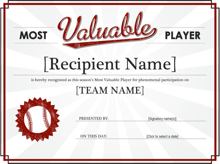 Most Valuable Player Sports Award Certificate Template