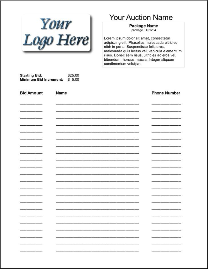 Movie Showing Silent Auction Bid Sheet Template