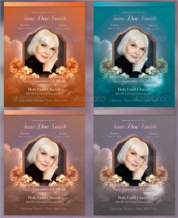 Multi-colour Obituary Program Full Page Bi-Fold Template