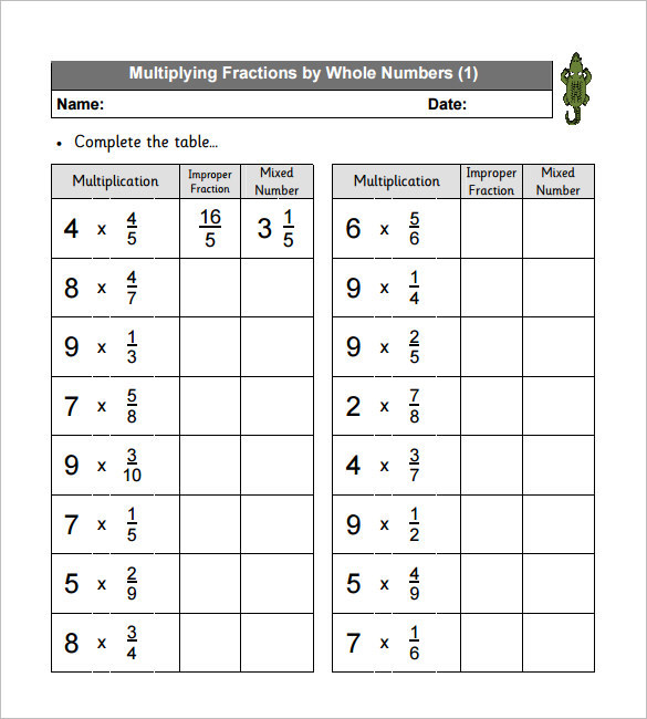Multiplying Fractions Worksheet KS 2