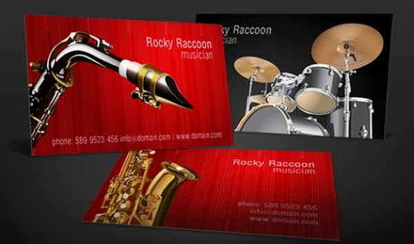 Musicians Business Card Free Vector