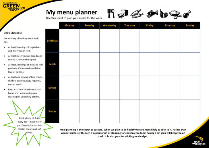 Daily Menu Planner Templates – Daily Menu Planner Template