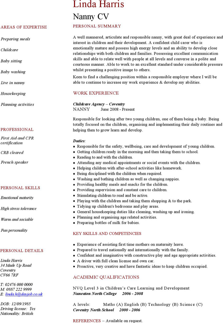 Babysitter Resume Templates  Download Free  Premium Templates