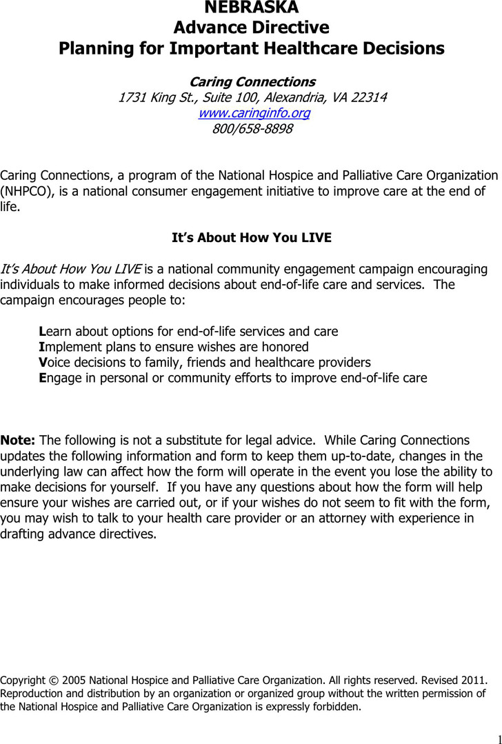 Nebraska Advance Health Care Directive Form