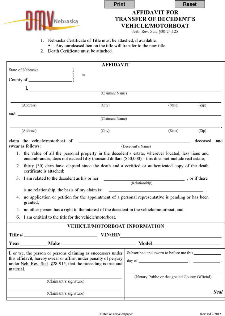 Nebraska Affidavit for Transfer of Decedent's Vehicle/Motorboat Form