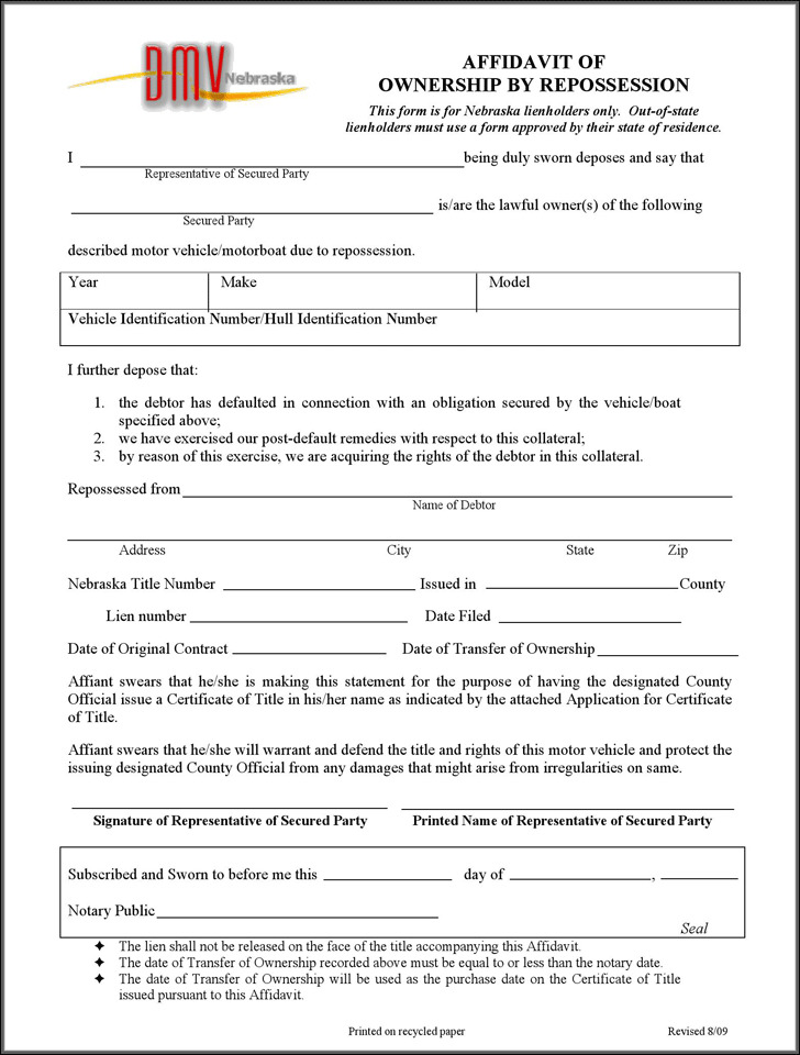 Nebraska Affidavit of Ownership by Repossession Form
