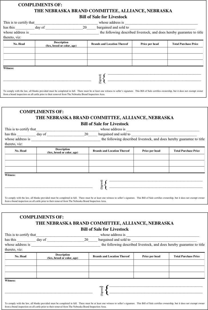 Nebraska Bill of Sale Form For Livestock