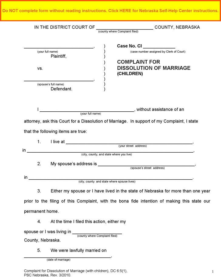 Free Divorce Forms Papers. Kansas Petition For Divorce (Without