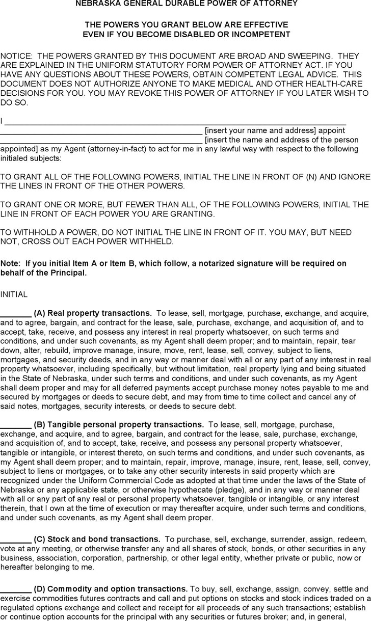 Nebraska General Durable Power of Attorney Form