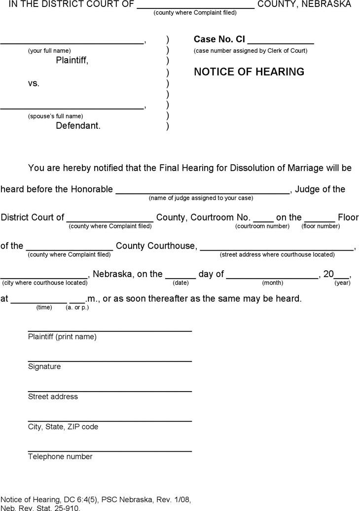 Nebraska Notice of Hearing Form