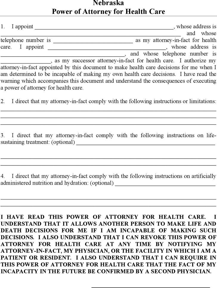 Nebraska Power of Attorney for Health Care Form