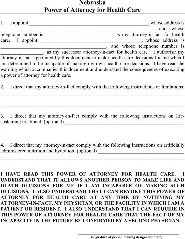 Nebraska Power of Attorney For Health Care