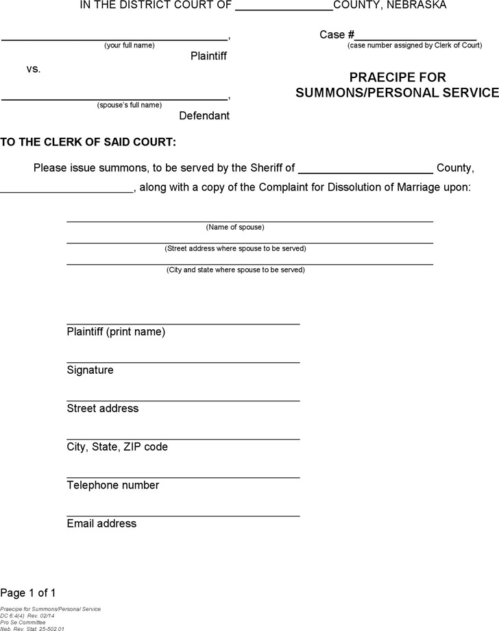 Nebraska Praecipe for Summons/Personal Service Form