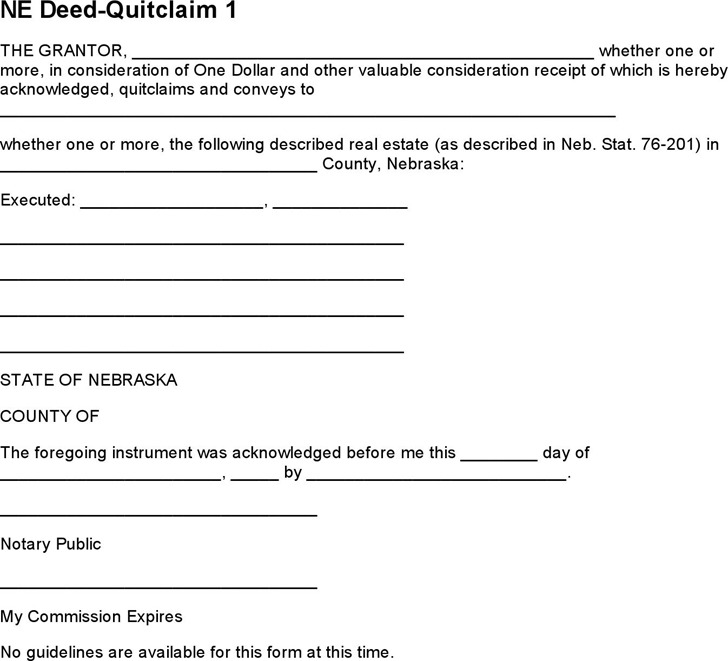 Nebraska Quitclaim Deed Form 2