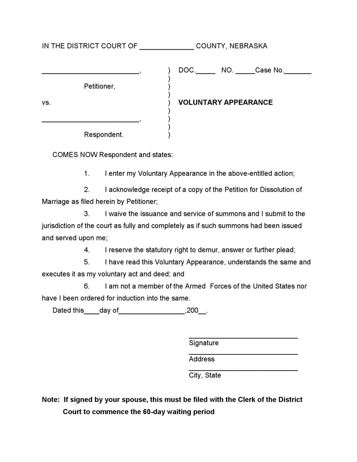 Nebraska Voluntary Appearance Form