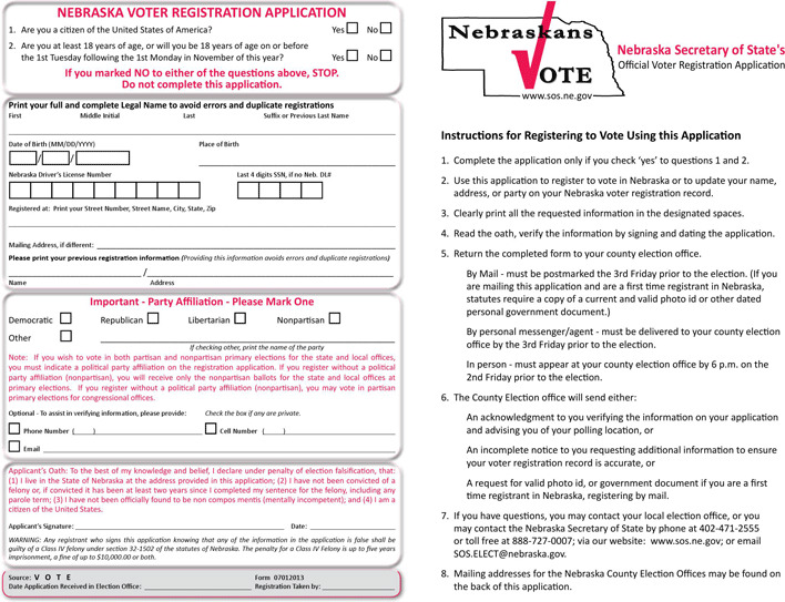 Nebraska Voter Registration Form