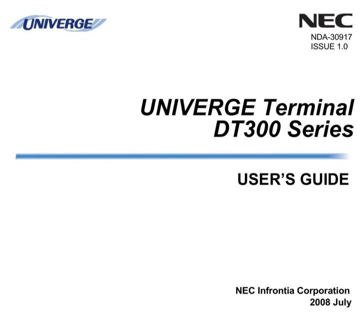 NEC User's Manual Sample