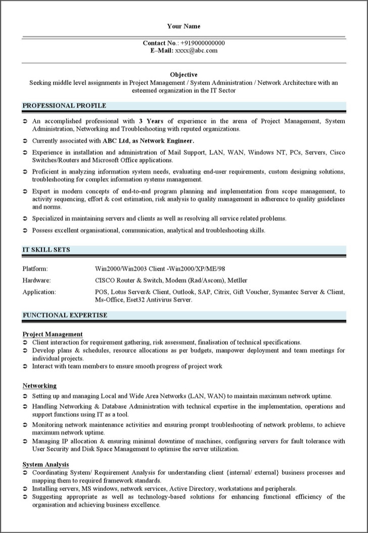 Resume Of Network Design Engineer Network Engineer Resume