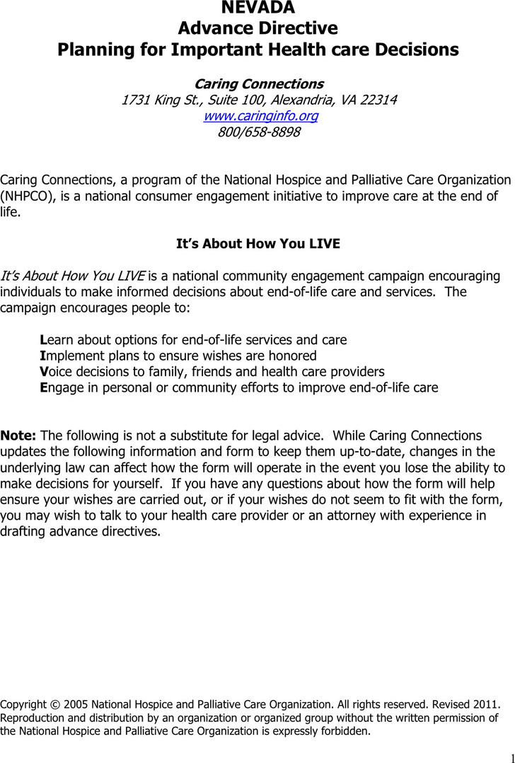 Nevada Advance Health Care Directive Form