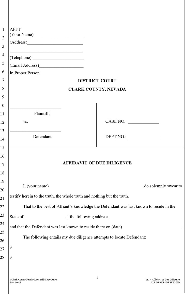 Nevada Affidavit of Due Diligence Form