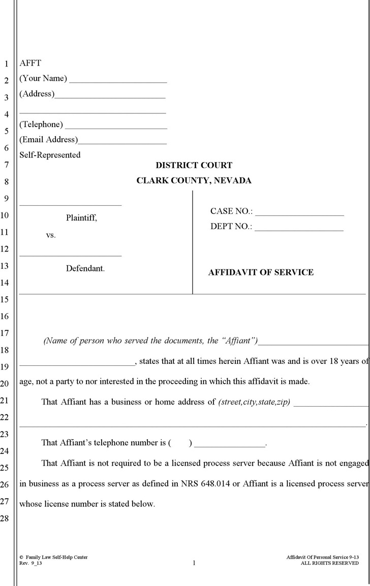Nevada Affidavit of Service (No Children) Form