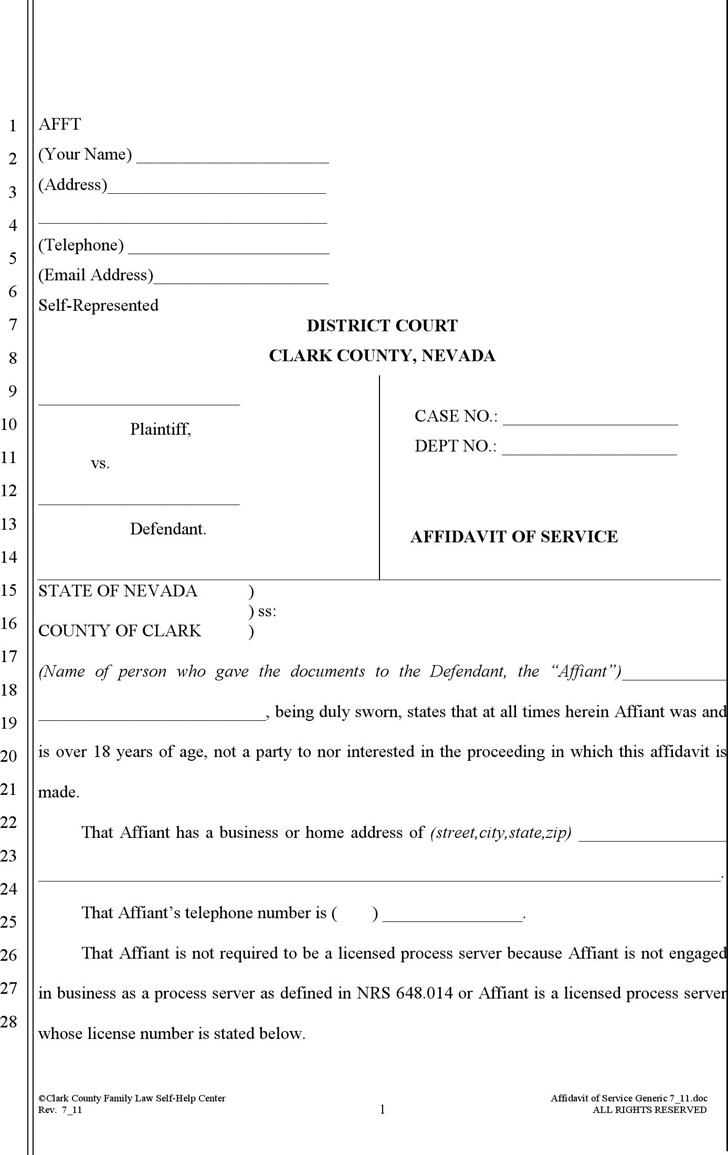 Nevada Affidavit of Service (with Minor Children) Form