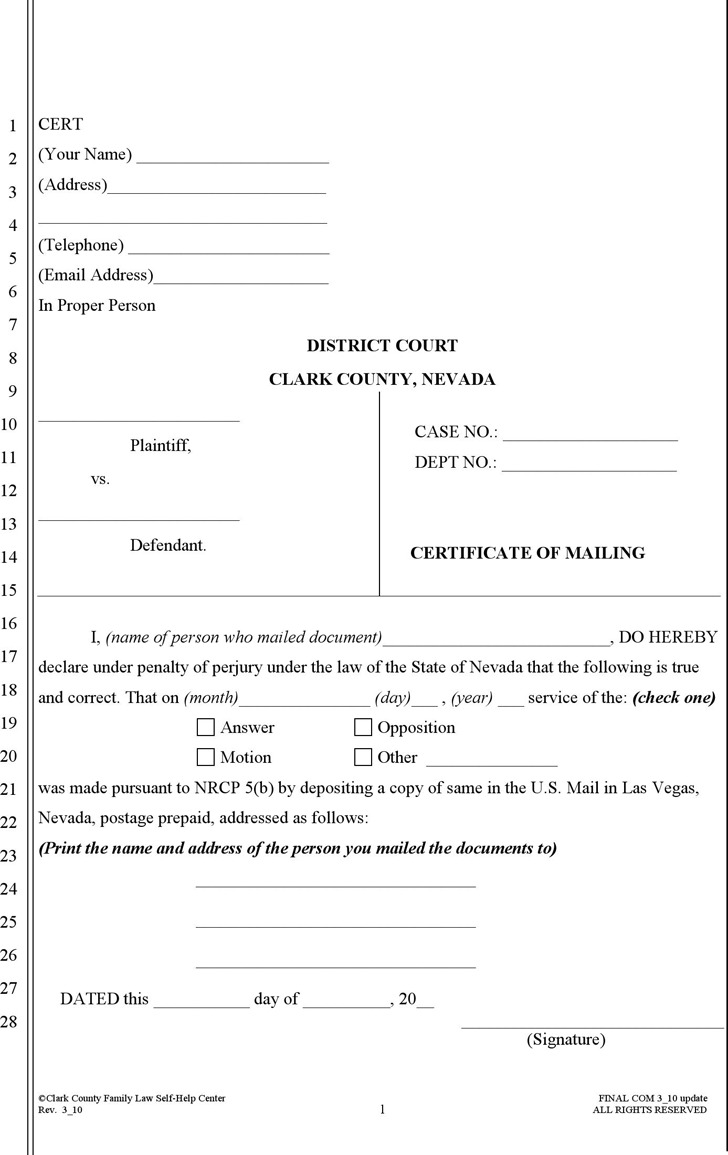 Nevada Certificate of Mailing Form