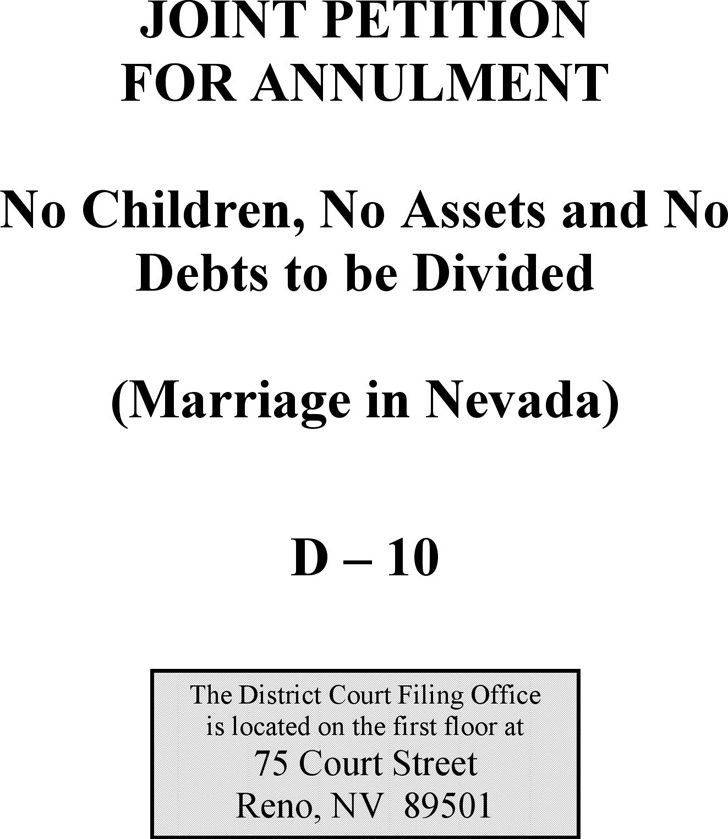 Nevada Joint Petition for Annulment Form