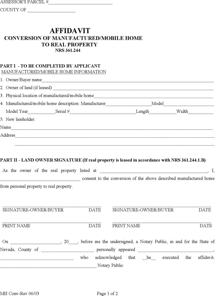 Nevada Manufactured/Mobile Home Conversion Affidavit Form