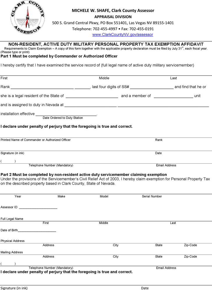 Nevada Non-Resident, Active Duty Military Personal Property Tax Exemption Affidavit Form