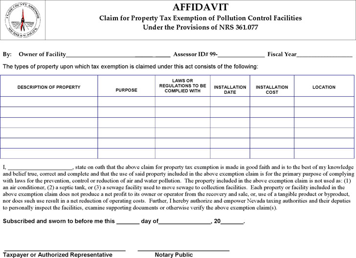 Nevada Pollution Control Affidavit Form