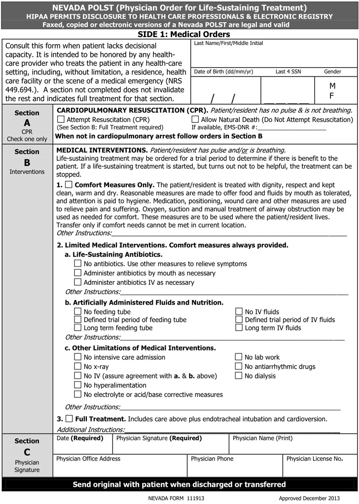 Nevada POLST Form