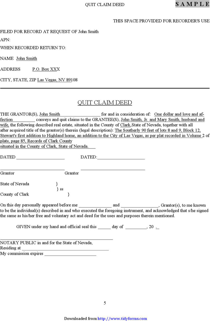 Nevada Quitclaim Deed Form
