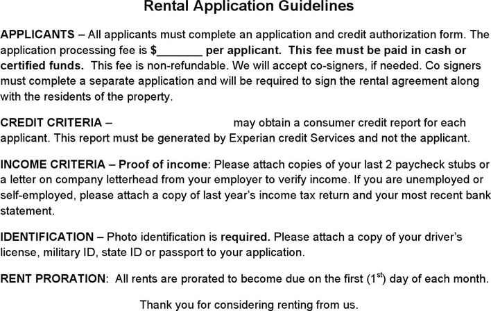 Nevada Rental Application