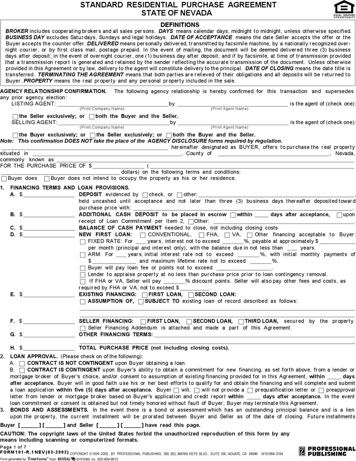 Nevada Standard Residential Purchase Agreement Form