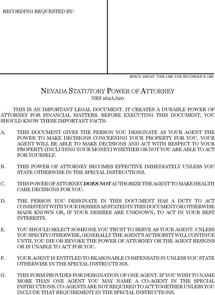 Nevada Statutory Power of Attorney Form