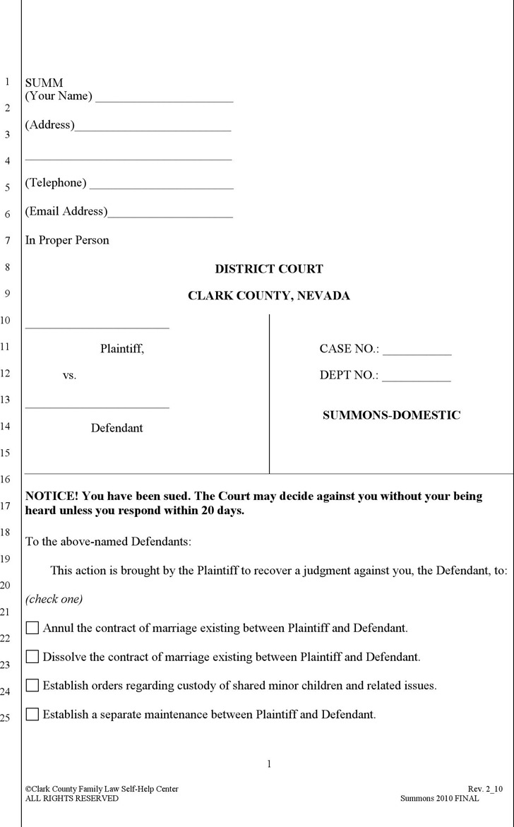 Nevada Summons Form