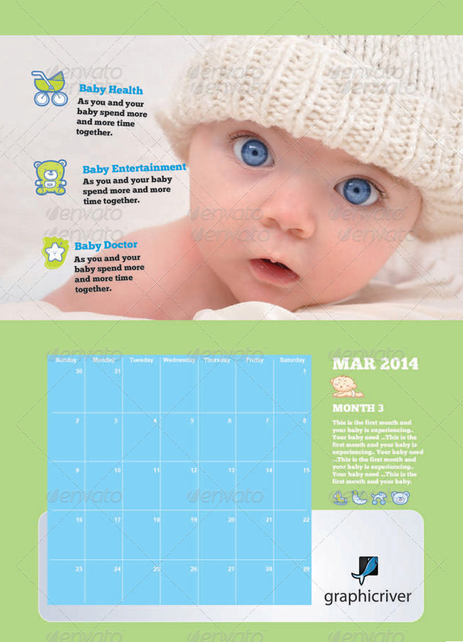 New Born Baby Wall Calendar for Kids