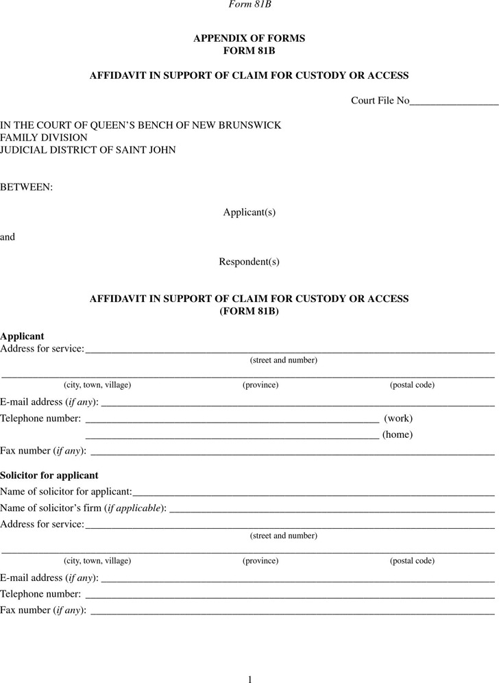 New Brunswick Affidavit Form  Download Free  Premium Templates