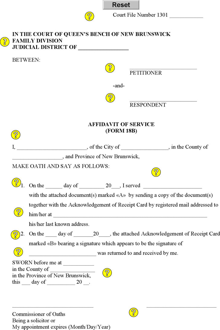 New Brunswick Affidavit of Service (Service by Registered Mail) Form