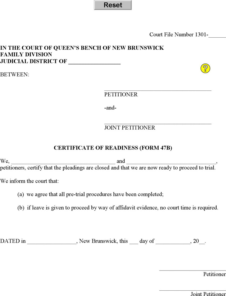New Brunswick Certificate of Readiness (Affidavit - Joint) Form