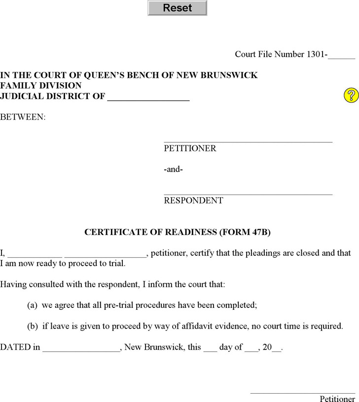 New Brunswick Certificate of Readiness (Affidavit - Sole Petitioner) Form